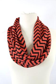 B38 Chevron Print Zig Zag Coral Orange & Black Lightweight Long Infinity Scarf