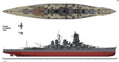"""Drawing of IJN battleship Kongo in her 1944 configuration. Kongō (金剛, """"indestructible"""", named for Mount Kongō) was a warship of the Imperial Japanese Navy during World War I and World War II. She was the first battlecruiser of the Kongō class, among the most heavily armed ships in any navy when built. The Kongō fought in a large number of major naval actions of the Pacific War during World War II."""
