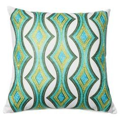 Sloane Embroidered Pillow Cover in Green