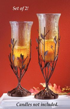 #31649 Set of 2 Amber Crackle Glass Candle Holders by sensationaltreasures
