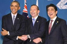 A GOOD WEEK FOR GLOBAL GOVERNANCE -  US President Barack Obama, Australian Prime Minister Tony Abbot and Japanese Prime Minister Shinzo Abe shake hands prior to the G-20 summit in Brisbane, Australia on Nov. 16, 2014. The three leaders agreed to deepen their security cooperation. (Photo: AAP)