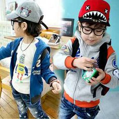 2014 Fashion Children Outerwear Autumn Long Sleeve Jacket Boys Clothes Letter Zipper Cardigan Kids Coat , Free Shipping MY125 $19.87
