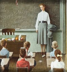 """Happy birthday Miss Jones"", Norman Rockwell American painter and illustrator. Norman Rockwell Prints, Norman Rockwell Paintings, Illustrations Vintage, Illustration Art, Miss Jones, Peintures Norman Rockwell, Retro, Teacher Birthday, Images Vintage"