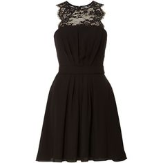 Elise Ryan Sleeveless Lace Panel Skater Dress ($81) ❤ liked on Polyvore