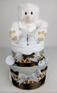 Neutral Nappy Cake - Two Tier, Grey and White, Nappy Cakes by Emma, Australia, Brisbane, Diaper Cake