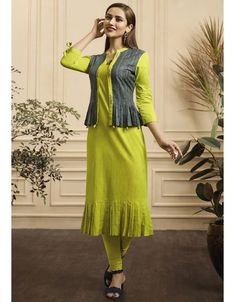 Cotton kurti designs - Lime Green and Slate Grey Cotton Kurti Salwar Designs, Kurta Designs Women, Kurti Designs Party Wear, Dress Neck Designs, Designs For Dresses, Blouse Designs, Jacket Style Kurti, Kurti With Jacket, Fancy Kurti