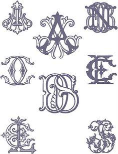 Sampling of custom monograms - Number Four Eleven, Savannah
