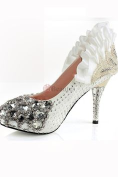 2a36a446fcd Retro Ruffles Beading Spike Heel Silk And Satin Cute Bridal Shoes