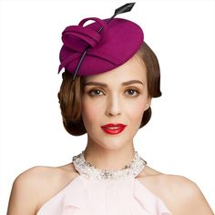 6d9198192edb7 A145 Ladies Curly Feather Felt Wool Fascinator Pillbox Tilt Cocktail Formal  Hat