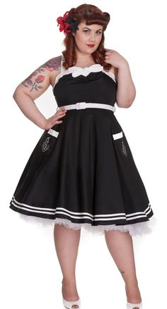 You will truly be a sea faring siren in this nautical inspired swing dress. #blamebetty #sailor #swingdress
