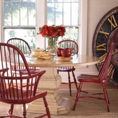 Somerset Bay Killington Dining Table. I am loving those Windsor chairs I like the red chairs