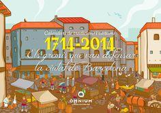 Calendari 2014 de Tradicions i Costums - Òmnium Cultural. Els gremis que van defensar la ciutat de Barcelona el 1714. Portada.