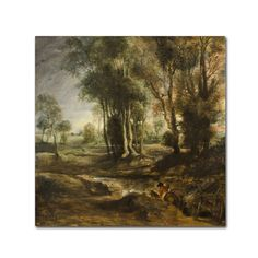 Peter Paul Rubens 'Evening Landscape With Timber Wagon' Canvas Art