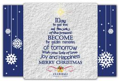 Merry Christmas 2012 for everyone who celebrates. Wish you lots of Love, joy and Happiness from Club Bali Resorts