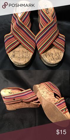 """XOXO Bali multicolored X Band wedge sandals 8M """"Bali"""" style XOXO wedge multicolored elastic x-band sandals. 3 1/2"""" wedge heel. Size 8M XOXO Shoes Sandals"""