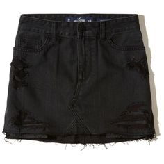 Hollister High-Rise Denim Skirt (320 SEK) ❤ liked on Polyvore featuring skirts, mini skirts, ripped black, high-waisted skirts, short denim skirts, mini skirt, high-waist skirt and high waisted mini skirt
