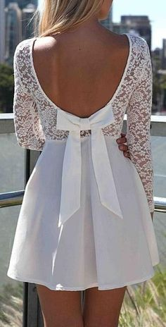 Long Sleeve White Lace Dress With B