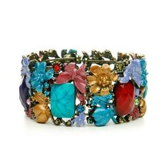 Whimsical Bejewled Colorful Garden Fashion Cuff Bracelet Melissa Kay Collection. $39.95. Our bejeweled cuff bracelet covered with faceted faux gems, scattered colored crystals, and enamel flowers and butterflies. This eye-catching fashion bracelet is set in burnished gold and is a fanciful accessory. Lead Free Alloy. Gold-plated. Crystal. Save 43%!