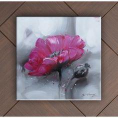 tableau peinture rose abstraite