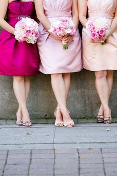 Shades of pink, bridesmaids  Love this idea! Maybe not with pinks