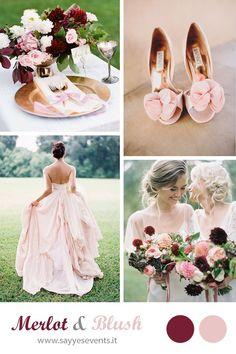 MERLOT + BLUSH WEDDING http://sayyesevents.it/2014/09/25/color-inspiration-merlot-blush/ | See more about Blush, Blush Weddings and Dusty R...