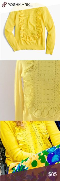 """JCREW Eyelet Sweater In Summerweight Cotton Sz M It's in like new condition.  Color: Citrus yellow   Spring 2017 COLLLECTION  STYLE: G1290   SOLD OUT!  PRODUCT DETAILS FROM JCREW:  """"Feminine and finished with a custom-made lace bib, this lighter summerweight cotton sweater is perfect for warmer weather.  Cotton. Bracelet sleeves. Rib trim at neck, cuffs and hem. Machine wash. J. Crew Sweaters Crew & Scoop Necks"""