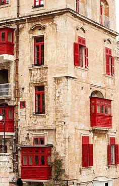 Traditional facade in Valletta, Malta