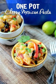 One Pot Cheesy Mexican Pasta - loaded with fresh veggies and only 20 minutes to make!