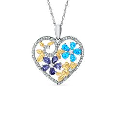 Blue + White Topaz Heart Flower Pendant