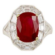 1stdibs | Burma Ruby 6.04cts AGL Cert Diamond ring