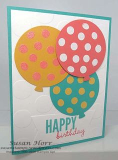 Here is a fun birthday card I made using the stamp set called Celebrate Today. It has a set of matching Framelits called Balloon Framelits. You can save 15% by buying them in a Bundle! Both of t...