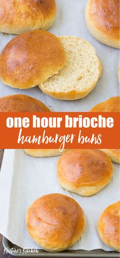 Quick Brioche Bun Recipe Quick and easy homemade hamburger bun recipe! This one hour brioche bun recipe makes the best soft brioche rolls! Make them with white whole wheat flour for a healthy burger bun. Homemade Hamburger Buns, Homemade Buns, Homemade Hamburgers, Homemade Brioche, Whole Wheat Hamburger Bun Recipe, One Hour Bread Recipe, Hamburger Buns Recipe Bread Machine, Soft Hamburger Buns Recipe, Recipes