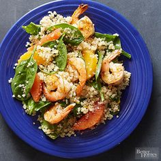 Ingredients: shrimp, quinoa, oranges, white balsamic vinegar, baby spinach  Keep your dinner low-cal with a mix of fresh produce and high-protein quinoa and shrimp. Orange slices add bright citrusy flavor to the salad recipe.