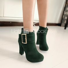 Women's Spring / Fall / Winter Round Toe Leatherette Casual Chunky Heel Black / Green / Purple 2016 - $661.23