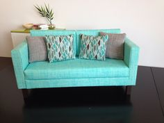 "Doll Sofa,Aqua blue, Dollhouse furniture, 1:6 scale,playscale, 10""- 12"" dolls by ItsPerfectlyPetite on Etsy https://www.etsy.com/listing/163036933/doll-sofaaqua-blue-dollhouse-furniture"
