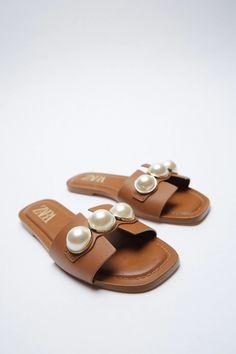 Flat Sandals, Slide Sandals, Zara United States, Flat Color, Brown Beige, Natural Leather, Birkenstock, Shoes, Style