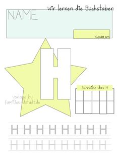 Lettering Learning Letters with Children - Familinchen Kindergarten Portfolio, Alphabet, Learning Letters, Diy For Kids, Symbols, Lettering, Cards, Children, Free Printable