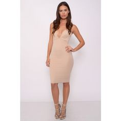 Rare London Beige Cross Back Plunge Dress ($40) ❤ liked on Polyvore featuring dresses, calf length dresses, pink midi dress, beige dress, midi cocktail dress and plunging neckline dress