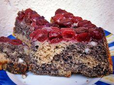 Túrós-mákos-meggyes sütemény