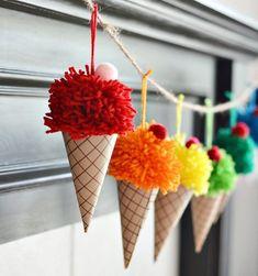 ❤ DIY Pom pom ice cream cones - fun summer decor ❤Mindy - craft idea & DIY tutorial collection Source by anglehulshof decoration decoration ideas Kids Crafts, Fun Diy Crafts, Summer Crafts, Arts And Crafts, Crafts With Yarn, Decor Crafts, Autumn Crafts, Do It Yourself Inspiration, Monday Inspiration
