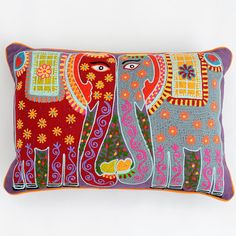Madhubani Elephant Cushion - Multicolour