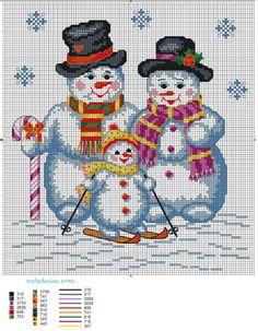 Cute Snowman Cross Stitch Pattern by mattie Snowman Cross Stitch Pattern, Xmas Cross Stitch, Counted Cross Stitch Patterns, Cross Stitch Charts, Cross Stitch Designs, Cross Stitching, Cross Stitch Embroidery, Embroidery Patterns, Christmas Embroidery