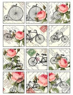 bikes and roses Vintage Printable Tags Digital Collage Sheet large square images inch background Decoupage Vintage, Papel Vintage, Decoupage Paper, Vintage Labels, Vintage Ephemera, Vintage Cards, Vintage Images, Vintage Retro, Printable Tags