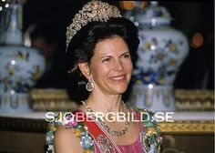 Queen Silvia during the Dinner Gala for the Norwegian State Visit to Sweden in May 1992. The Queen is wearing the Braganza Tiara, which she typically only wears for state visits from visiting Monarchs, but there are some exceptions to this rule.