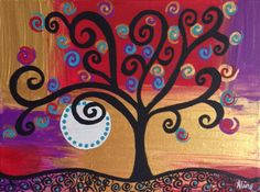 Tree painting Klimt inspired gold red purple by DreamtimeStudios, $32.00