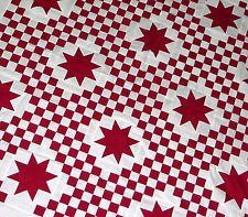 MUST SEE - Patchwork rouge et blanc Triple irlandais chaîne Avec des Etoiles - QUILT TOP