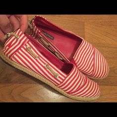 Nautical Red & White Striped Espradrilles Excellent Condition. Worn once! Smoke free home.  So cute for Spring! Nautica Shoes Flats & Loafers