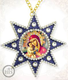 Virgin Mary Zirovitskaya - Flowers, Ornament Icon Pendant with Chain, Blue