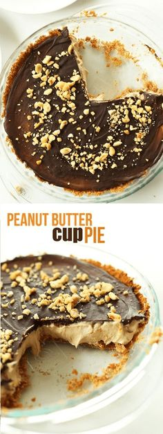 Vegan peanut butter cup no-bake pie with a graham cracker crust and chocolate ganache top! 8 ingredients, simple to prepare, and SO delicious you won't be able to have just 1 slice. Cake Recipes, Snack Recipes, Dessert Recipes, Cooking Recipes, Snacks, Chocolate Ganache, Chocolate Desserts, Fun Desserts, Fun Easy Recipes
