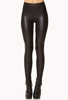 """A pair of faux leather leggings. Elasticized waist. Lightweight. DETAILS: - 28.5"""" approx. inseam, 26"""" approx. waist - Measured from Small - 96% polyester, 4% spandex - Hand wash cold, dry flat - Impor"""